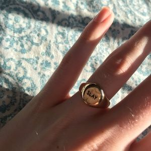 "CHARMING CHARLIES ""slay"" signet ring size 7/7.5"